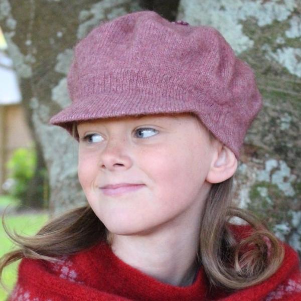 粉紅色兒童保暖帽紐西蘭貂毛羊毛帽貝蕾帽 毛帽,貝蕾帽,報童帽,兒童 保暖帽