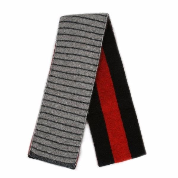 【紅炭灰黑】雙面條紋紐西蘭貂毛羊毛圍巾 雙層保暖圍巾男用女用 羊毛圍巾推薦,保暖圍巾,羊毛圍巾