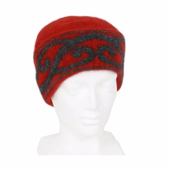 【南瓜紅】紐西蘭貂毛羊毛帽保暖帽 單層薄款-上折帽緣兩層-心型蕨葉 毛帽,羊毛帽,保暖帽,保暖帽登山推薦,雪地帽
