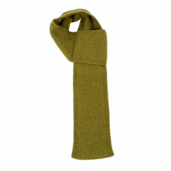【橄欖綠】紐西蘭貂毛羊毛圍巾(窄版12公分) 輕巧保暖圍巾懶人圍巾-男用女用