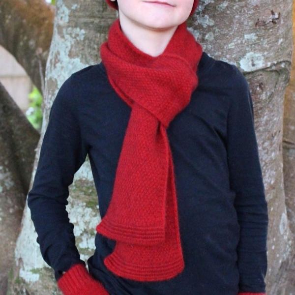 深紅色單層窄版12公分紐西蘭貂毛羊毛圍巾