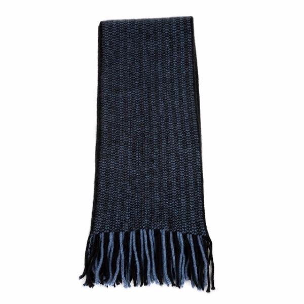 【水藍X黑】摩斯配色紐西蘭貂毛羊毛圍巾 雙色粗針織保暖圍巾男用女用 保暖圍巾,羊毛圍巾,圍巾
