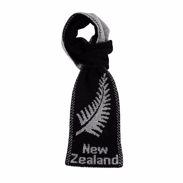 蕨葉雙面紐西蘭100%純羊毛圍巾 輕巧保暖圍巾懶人圍巾-男用女用-麻灰X黑 圍巾,羊毛圍巾推薦,純羊毛圍巾,羊毛圍巾