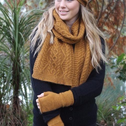 【金色】特寬華麗編織紐西蘭貂毛羊毛圍巾 _手織感毛線編織圍巾保暖圍巾 圍巾,保暖,保暖圍巾,羊毛圍巾