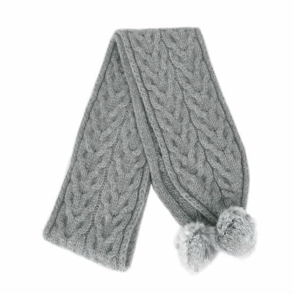 【銀灰】兔毛球麻花紐西蘭貂毛羊毛圍巾 立體麻花圍巾-粗針織毛線圍巾-保暖圍巾 圍巾,羊毛圍巾,毛線圍巾,保暖圍巾,圍巾女