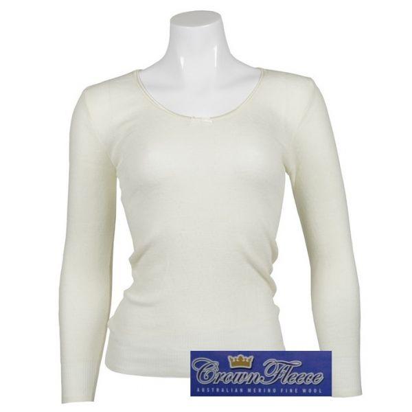 大圓領長袖澳洲皇冠女裝100%純羊毛衛生衣(縮袖口) 象牙白 羊毛衛生衣,保暖衣,美麗諾羊毛