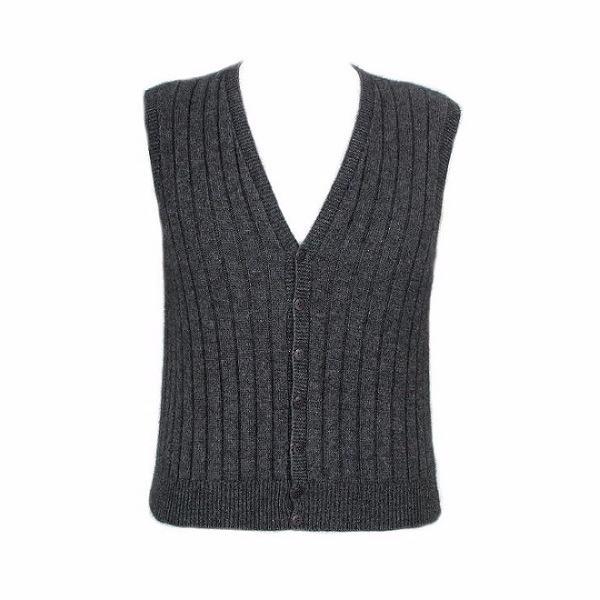 炭灰色V領開扣紐西蘭貂毛羊毛背心男用女用 保暖背心羊毛V領背心保暖背心外套