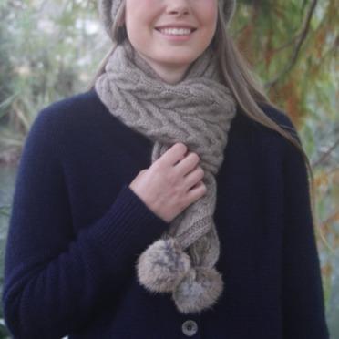 【奶茶】兔毛球麻花紐西蘭貂毛羊毛圍巾 立體麻花圍巾-粗針織毛線圍巾-保暖圍巾 圍巾,羊毛圍巾,毛線圍巾,保暖圍巾,圍巾女
