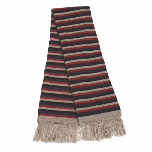 多彩條紋【紅】雙層紐西蘭貂毛羊毛圍巾 男用女用防寒保暖圍巾 圍巾,保暖,保暖圍巾,羊毛圍巾
