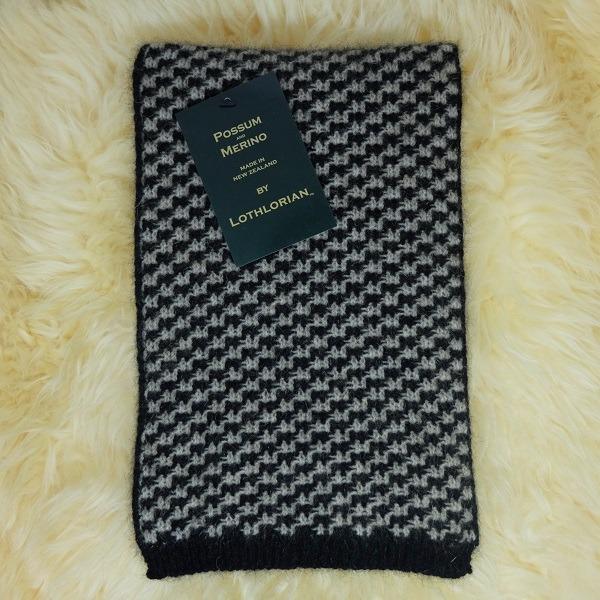 【奶茶X黑】千鳥格紐西蘭貂毛羊毛圍巾 雙色粗針織保暖圍巾男用女用
