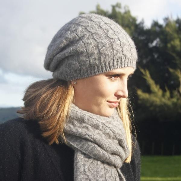 【銀灰】編織紐西蘭貂毛羊毛帽保暖帽-垂墜感slouch風格-麻花手織感 毛帽,毛線帽,保暖帽,羊毛帽,羊毛配件