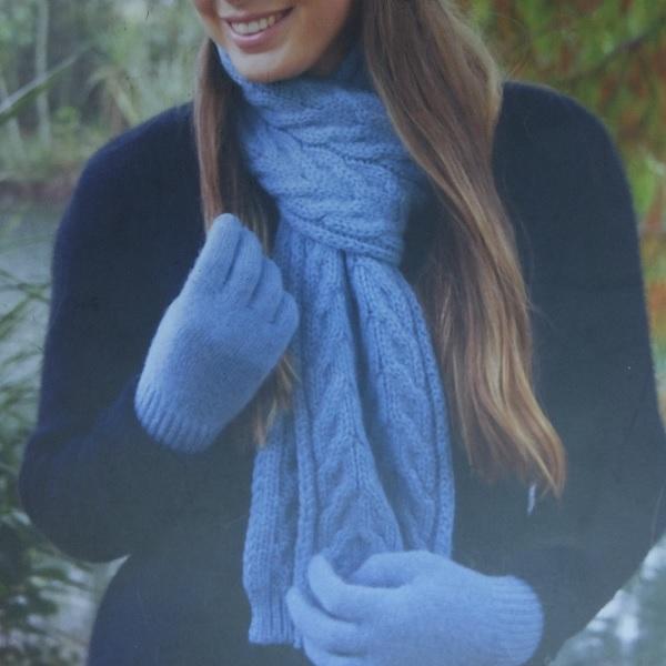 霧藍100%紐西蘭駝羊毛保暖圍巾麻花粗針織 圍巾,保暖,保暖圍巾,羊毛圍巾