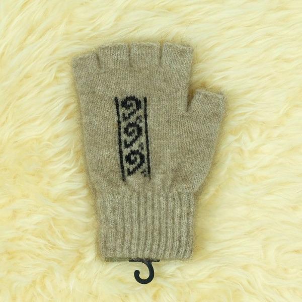 蕨葉【奶茶】紐西蘭貂毛羊毛露指手套 保溫輕量半指手套男女保暖手套 露指手套,保暖手套,半指手套,半指手套 保暖,半指手套男