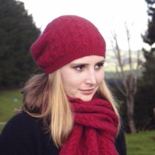 【覆盆子桃紅】編織紐西蘭貂毛羊毛帽保暖帽-垂墜感slouch風格-麻花手織感 毛帽,毛線帽,保暖帽,羊毛帽,羊毛配件