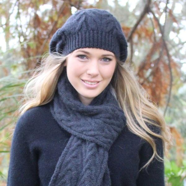 深灰100%紐西蘭駝羊毛貝蕾帽麻花粗針織保暖帽 毛帽,毛線帽,保暖帽,羊毛帽,羊毛配件