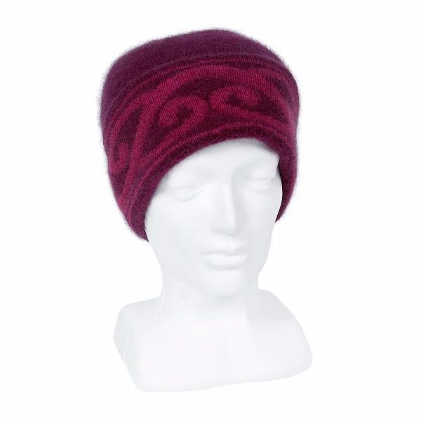 【紫莓色】紐西蘭貂毛羊毛帽保暖帽 單層薄款-上折帽緣兩層-心型蕨葉 毛帽,羊毛帽,保暖帽,羊毛配件,保暖帽推薦