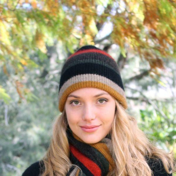 羅紋單層薄款【金色】紐西蘭貂毛羊毛帽 高彈性羅紋-版型小服貼型-彩色條紋