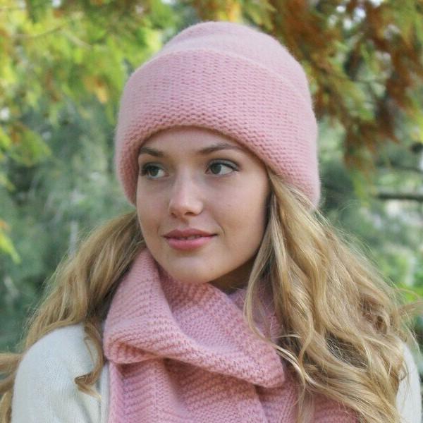 雙層厚款粉紅100%紐西蘭駝羊毛保暖帽男用女用