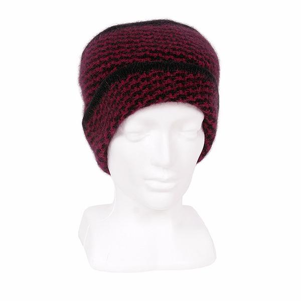 【深紅色】紐西蘭貂毛羊毛帽 典雅千鳥格紋_紅X黑 毛帽,保暖帽,防寒保暖帽,雪地帽,