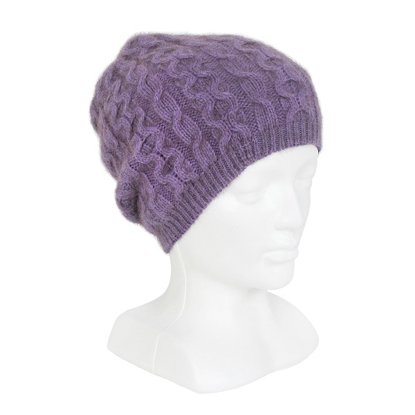 【紫】編織紐西蘭貂毛羊毛帽保暖帽-垂墜感slouch風格-麻花手織感 毛帽,毛線帽,保暖帽,羊毛帽,羊毛配件