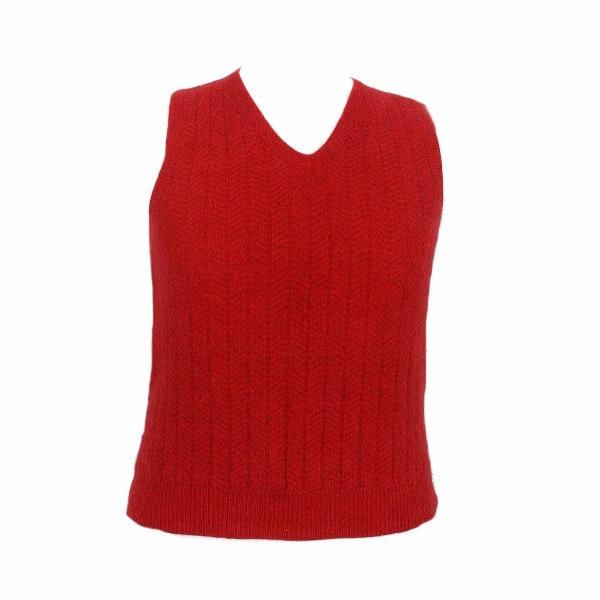 深紅色V領紐西蘭貂毛羊毛背心男用女用 保暖背心羊毛V領背心無袖套頭背心