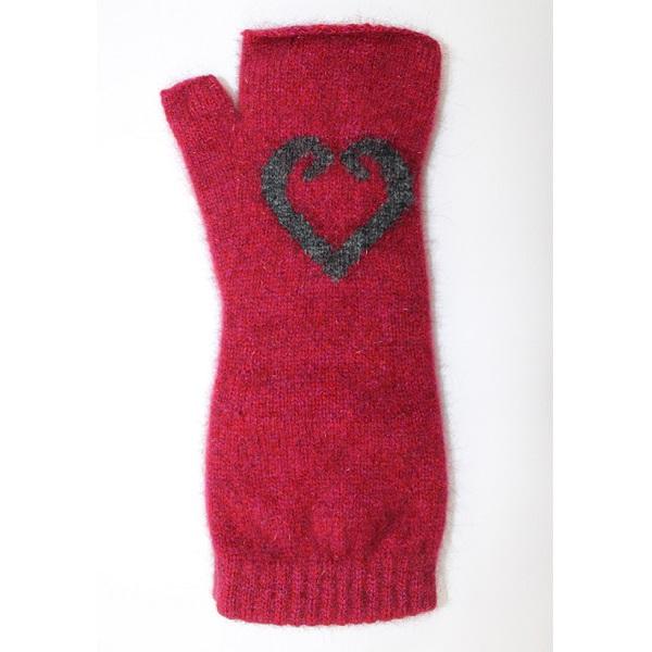 愛心蕨葉【覆盆子桃紅】紐西蘭貂毛羊毛袖套手套 保暖露指手套-美型袖套造型女用手套 保暖手套,袖套,羊毛手套,露指手套