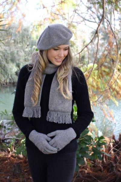 銀灰色保暖貝蕾帽紐西蘭貂毛羊毛帽