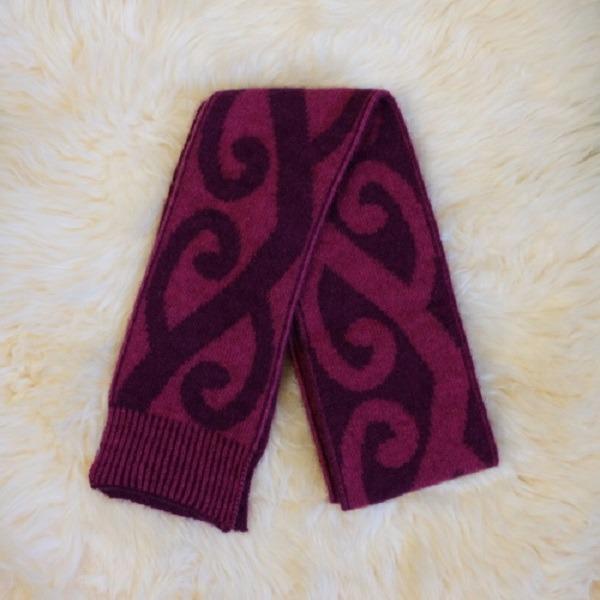 特長雙面蕨葉紐西蘭貂毛羊毛圍巾 雙層保暖圍巾-紫莓X桃紅 保暖圍巾,羊毛圍巾,圍巾