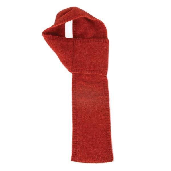 【南瓜紅】紐西蘭貂毛羊毛圍巾(窄版12公分) 輕巧保暖圍巾懶人圍巾-男用女用