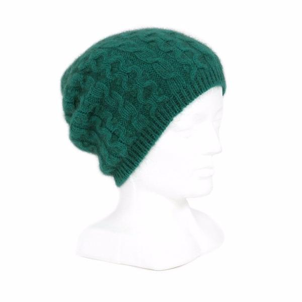 【翡翠綠】編織紐西蘭貂毛羊毛帽保暖帽 垂墜感slouch風格-麻花手織感 毛帽,毛線帽,保暖帽,羊毛帽,羊毛配件