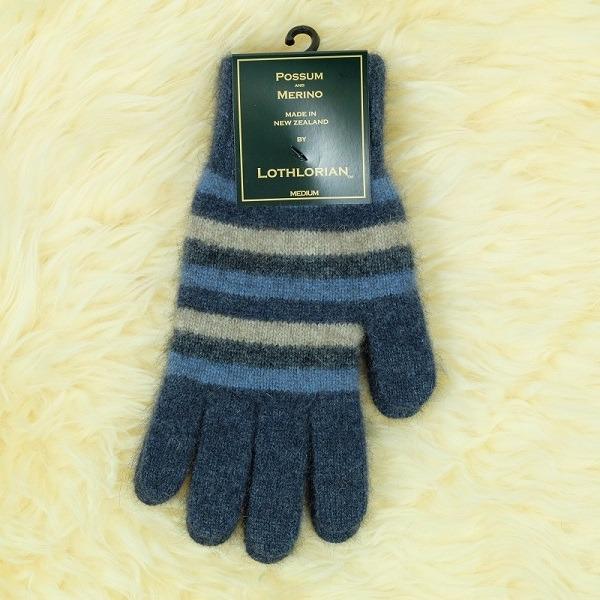多彩條紋【水藍】紐西蘭貂毛羊毛手套保暖手套 高保溫輕量男用手套女用手套 羊毛手套,保暖手套,防寒手套,手套男,手套女