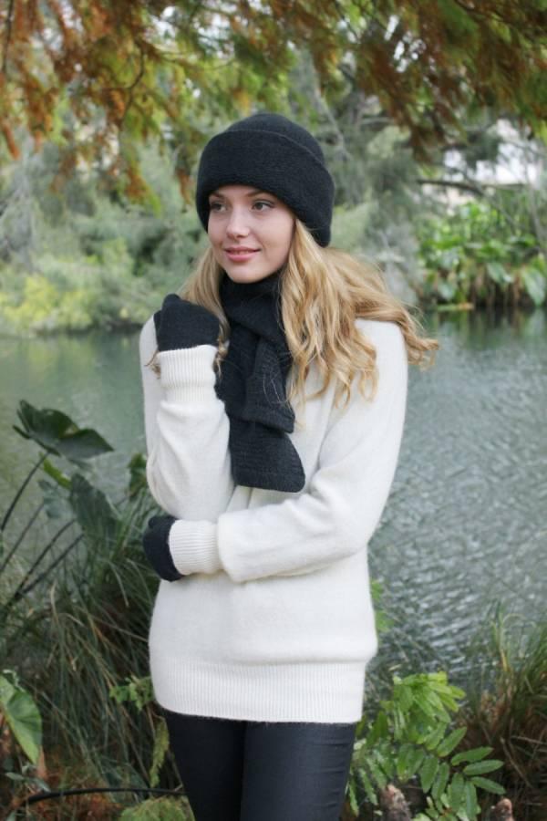 格線深灰100%紐西蘭駝羊毛保暖圍巾