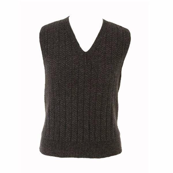炭灰色V領紐西蘭貂毛羊毛背心男用女用 保暖背心羊毛V領背心無袖套頭背心