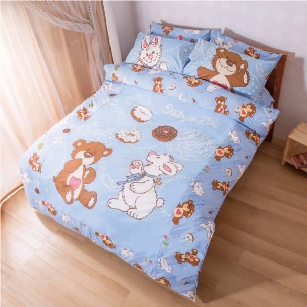 Ally 蘇西動物園甜甜圈藍磨毛雙人床包被套組 Ally 蘇西動物園甜甜圈藍磨毛雙人床包被套組