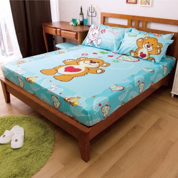 Ally 蘇西動物園陽光寶貝藍純棉雙人床包組 Ally 蘇西動物園陽光寶貝藍純棉雙人床包組