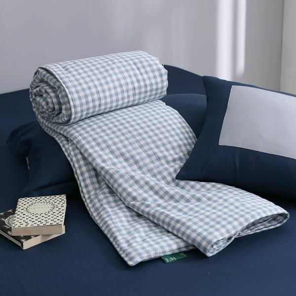 【 好關係 HAOKUANXI 】座標藍格-二重紗分享被 好關係, HAOKUANXI, haokuanxi, 寢具, 床包, 被套, 枕頭, 棉被, 保潔墊, MIT, 台灣製造, 座標藍格, 棉