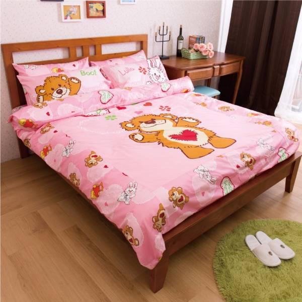 Ally 蘇西動物園陽光寶貝粉純棉雙人床包被套組 Ally 蘇西動物園陽光寶貝粉純棉雙人床包被套組