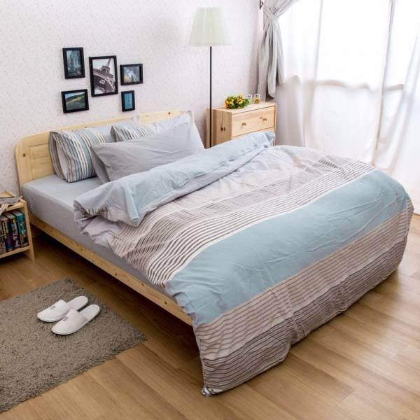 Ally 雙人四件式灰藍條紋水洗棉床包被套組 Ally 雙人四件式灰藍條紋水洗棉床包被套組
