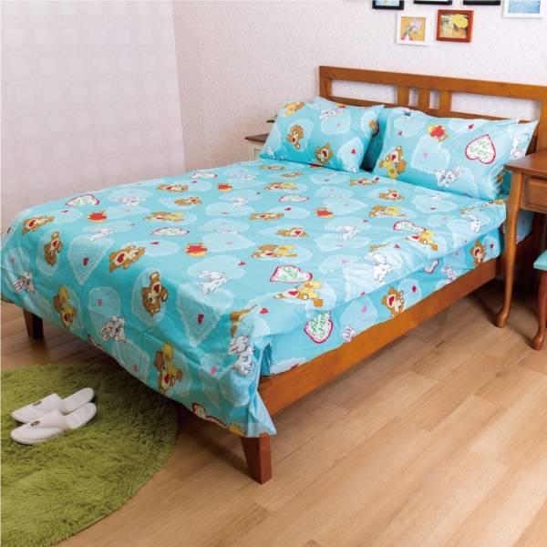 Ally 蘇西動物園幸福滿點藍純棉雙人床包被套組 Ally 蘇西動物園幸福滿點藍純棉雙人床包被套組