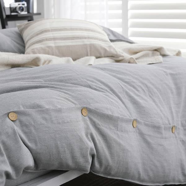 【 好關係 HAOKUANXI 】擁抱晨霧-天然色織棉被套 好關係, HAOKUANXI, haokuanxi, 寢具, 床包, 被套, 枕頭, 棉被, 保潔墊, MIT, 台灣製造, 沐浴朝陽, 天然色織棉,