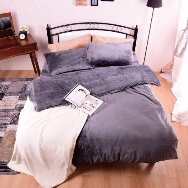 Ally 經典素色沉穩灰法蘭絨雙人床包兩用毯被組 Ally 經典素色沉穩灰法蘭絨雙人床包兩用毯被組