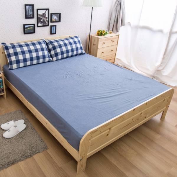 Ally 單人兩件式深藍大格紋水洗棉床包組 Ally 單人兩件式深藍大格紋水洗棉床包組