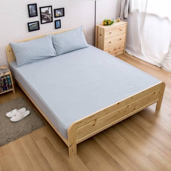 Ally 雙人加大三件式淺藍小格紋水洗棉床包組 Ally 雙人加大三件式淺藍小格紋水洗棉床包組