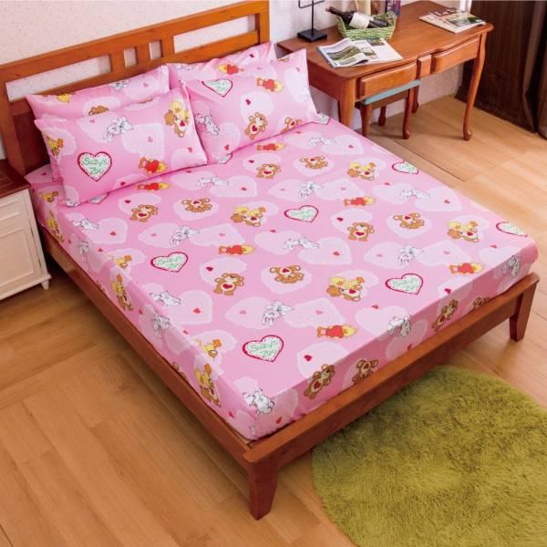 Ally 蘇西動物園幸福滿點粉純棉雙人床包組 Ally 蘇西動物園幸福滿點粉純棉雙人床包組