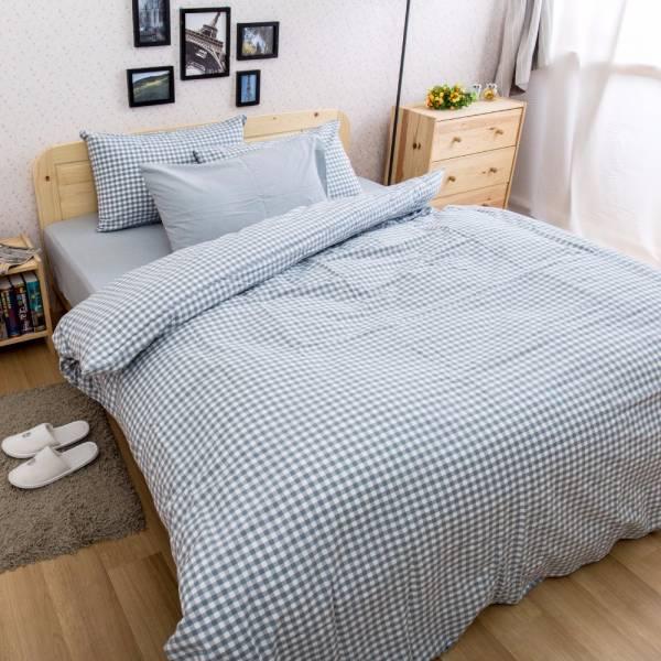 Ally 雙人加大四件式淺藍小格紋水洗棉床包被套組 Ally 雙人加大四件式淺藍小格紋水洗棉床包被套組