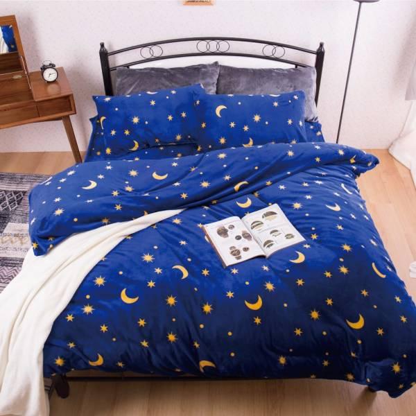 Ally 藍底星空法蘭絨雙人加大床包兩用毯被組 Ally 藍底星空法蘭絨雙人加大床包兩用毯被組