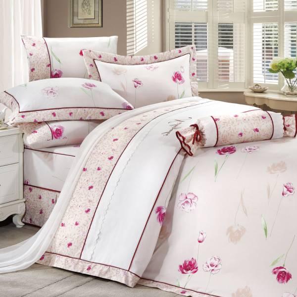 西崎 雙人七件式豐璽映花-米精梳棉床罩組