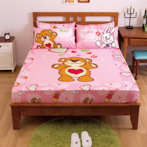 Ally 蘇西動物園陽光寶貝粉純棉雙人床包組 Ally 蘇西動物園陽光寶貝粉純棉雙人床包組