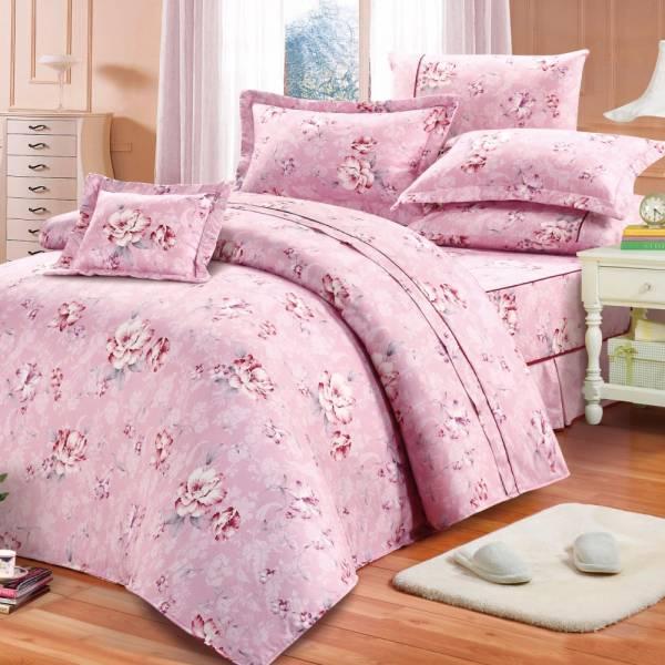 Ally 西崎 雙人加大七件式彩岸櫻粉精梳純棉床罩組