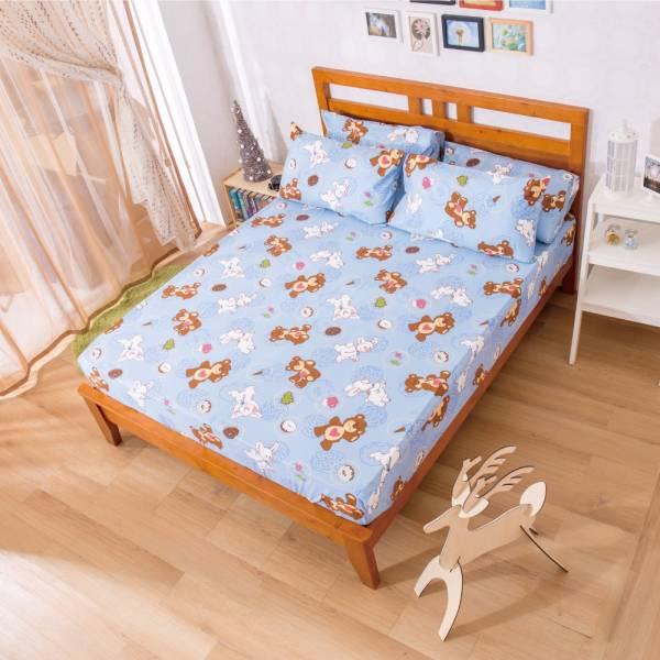 Ally 蘇西動物園甜密好滋味藍磨毛單人床包組 Ally 蘇西動物園甜密好滋味藍磨毛單人床包組